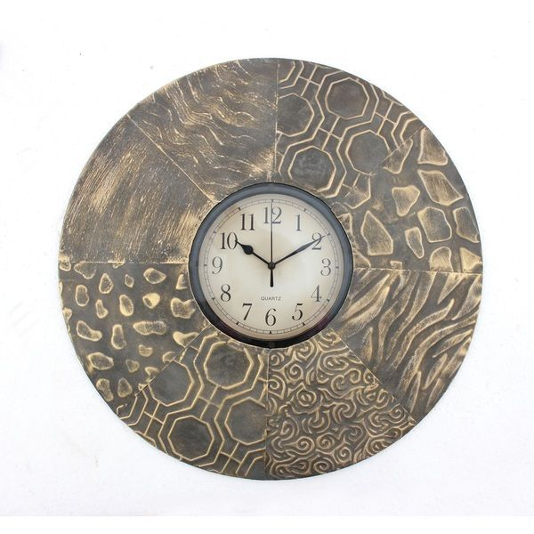 Round Textured Metal Wall Clock Overstock Shopping