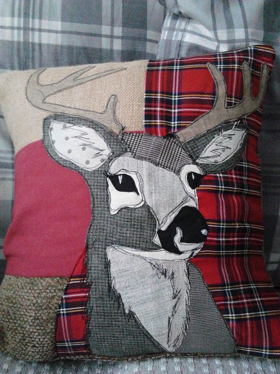 PaddyMacDesign - Patchwork appliqued stag cushion with a Christmas feel.