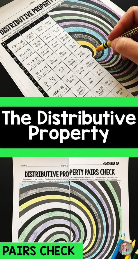 This resource combines the fun of a coloring activity with the ease and collaboration of a pairs self checking activity. Students will simplify expressions using the distributive property and use their coloring pages to check their answers with a student who has the other half of the page.