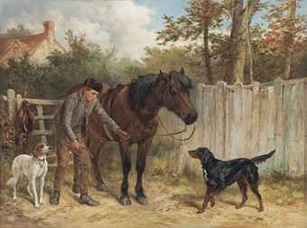 JAMES HARDY, JUN. (1832-1889)  A YOUNG GAMEKEEPER WITH A PONY AND DOGS