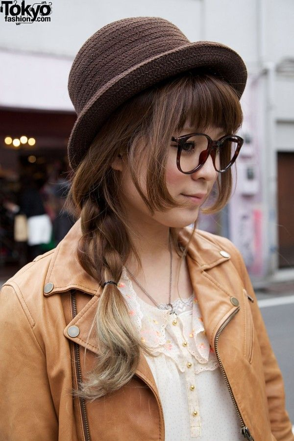 Japanese Girl W Long Braid Glasses Amp Derby Hat Face