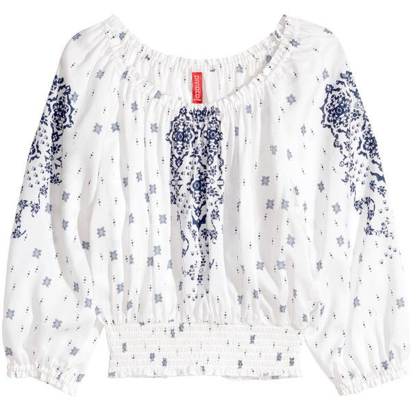H&M Bohemian blouse (£8) ❤ liked on Polyvore featuring tops, blouses, h&m, shirts, white, white shirt blouse, bohemian blouses, short-sleeve blouse, white blouse and rayon shirts