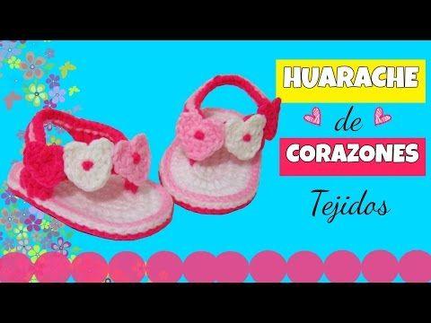 Huarache o sandalia de corazones ♥ tejidos a crochet | varias tallas - YouTube
