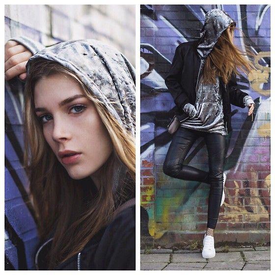 Get this look: http://lb.nu/look/8614559  More looks by Fabia Von Hauff: http://lb.nu/fabiavonhauff  Items in this look:  New Look Velvet Hoodie, Liebeskind Crossbody Bag, Asos Fishnet Socks