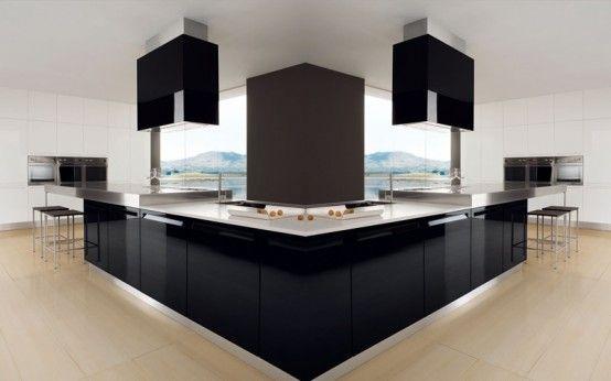 Glossy Black And White Kitchen Designs photo Alessandra Martina