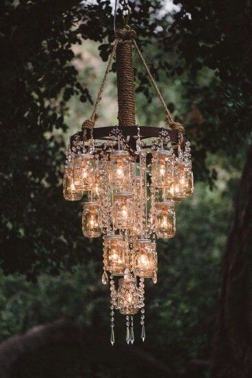 Beautiful mason jar chandelier!