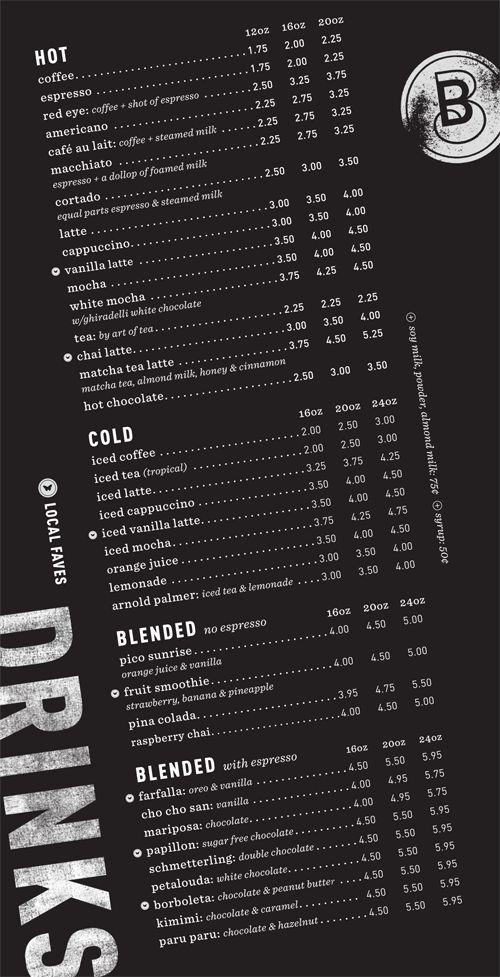 Art of the Menu: Blue Butterfly Coffee Co.