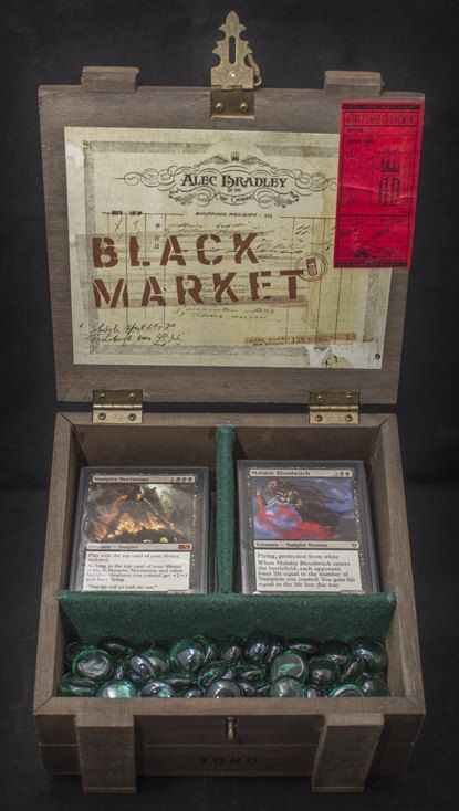 Magic The Gathering Wooden Deck Box  Black by CrystaljDesign