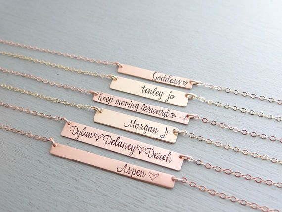 4579eef1b2d30e Personalized Bar Necklace With Your Custom Words or Numbers Of Choice.  Gold, Rose Gold, or Silver Hand Stamped Bar. Name Plate Necklace.