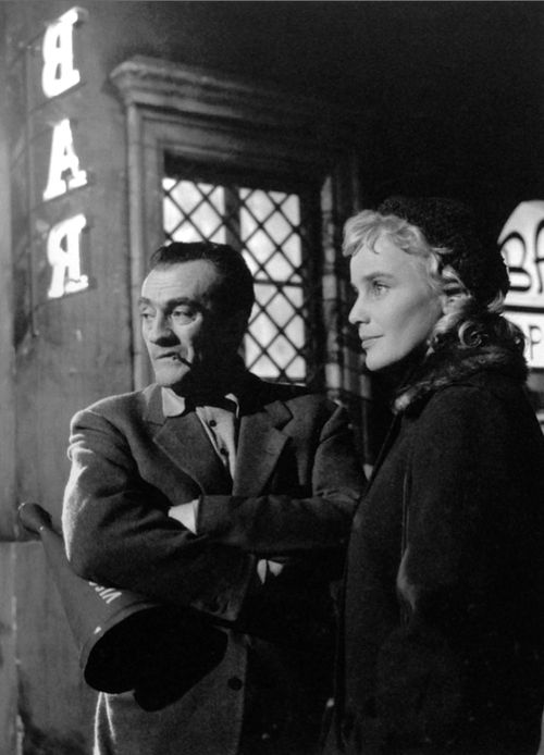 Maria Schell and Lucino Visconti  on the set for Le Notti Blanche 1957