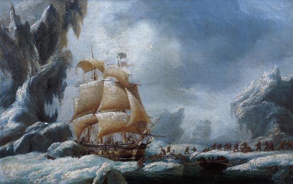 Le transport de Jules Dumont d' Urville (1790-1845) coincé dans un bloc de glace en Antarctique, 1790, de Ambroise Louis Garneray (1783-1857, France)