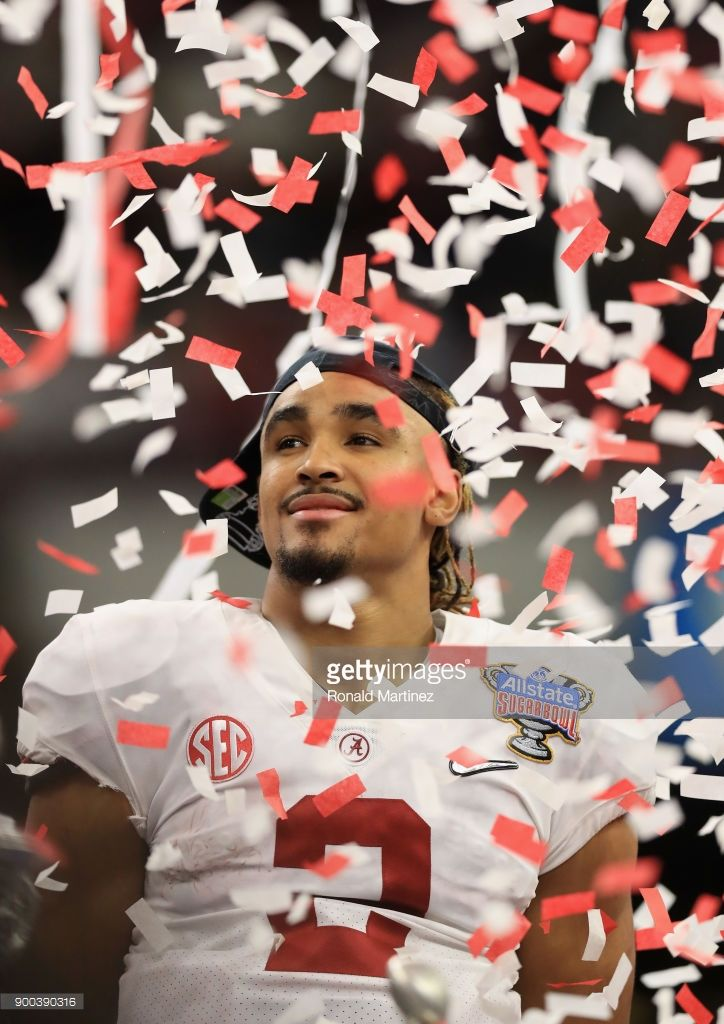 Jalen Hurts #2 of the Alabama Crimson Tide celebrtes after the AllState Sugar Bowl against the Clemson Tigers at the Mercedes-Benz Superdome on January 1, 2018 in New Orleans, Louisiana.