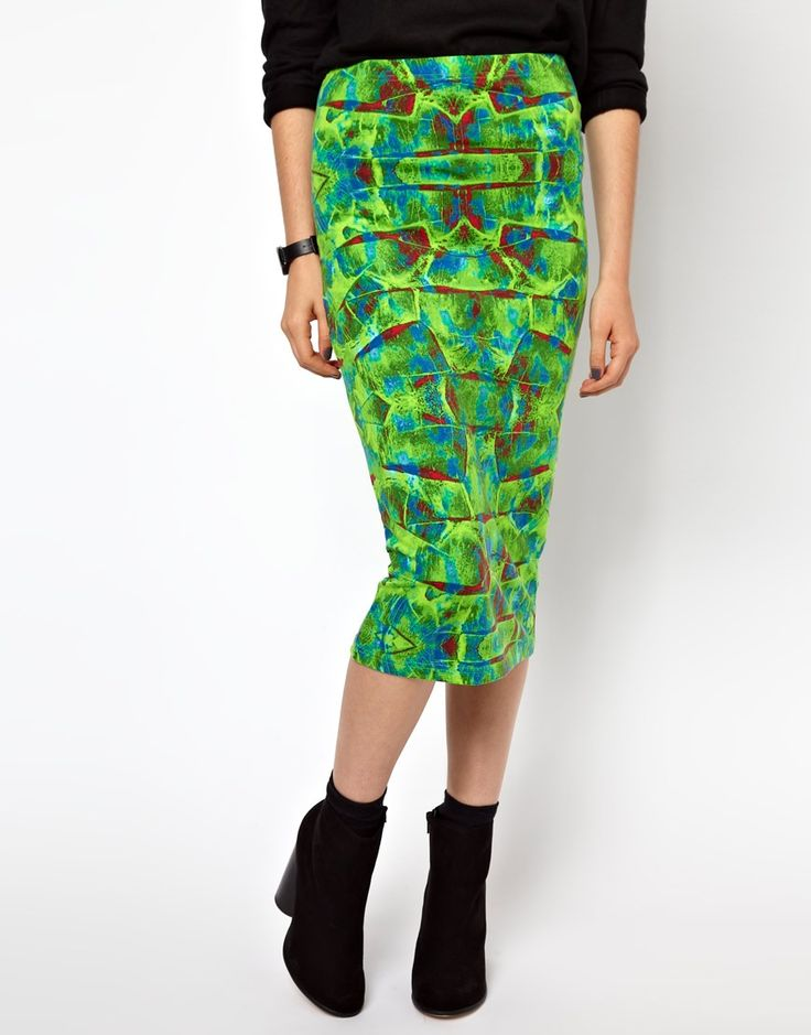 Monki Digital Graphic Print Pencil Skirt •	Made from stretch cotton jersey •	Elasticated high-rise waist •	Bright graphic print throughout •	Body-Conscious fit Patterned Skirts, Embellished Skirts and Funky Skirts #fashion #beauty #skirts #clothing #apparel #HotMomma #HauteMomma #LifestyleMom #fashionmoms