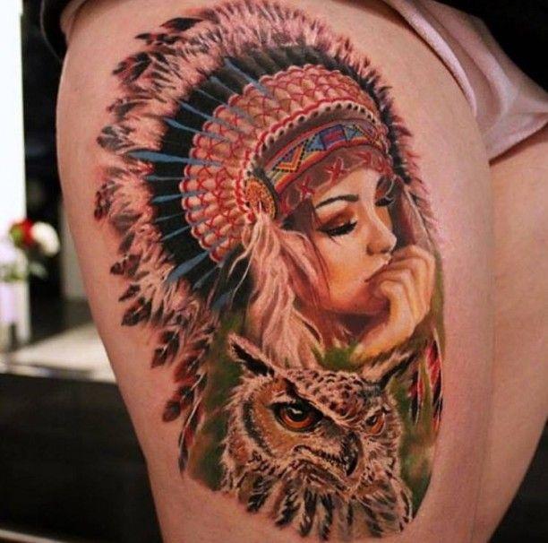 Tattoo hübsche Indianerin mit Eule