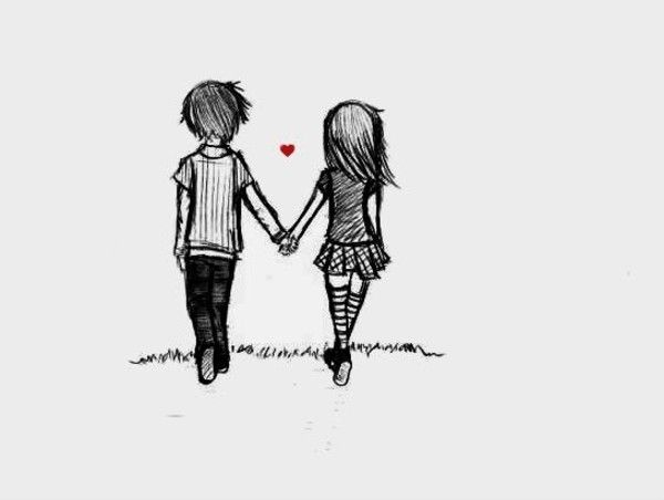 cute couple cartoon drawings