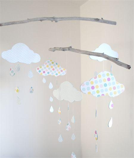 Handmade Nursery Mobile -Aqua, Pink & Yellow Clouds