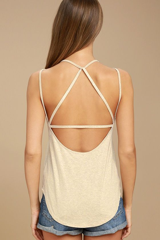 What's Strap-pening? Beige Strappy Back Tank Top 4 Lulus