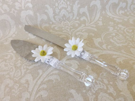 Daisy Lace Wedding Cake Knife Server Set by creations4brides, $25.00