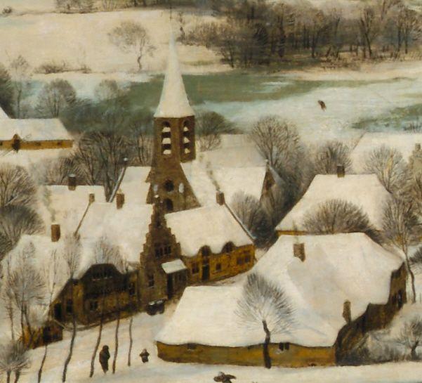 6. Деревни. Такие дома и церкви с колокольнями характерны для любого селения ренессансных Нидерландов, и местность, с которой Брейгель писал виды, не установлена.