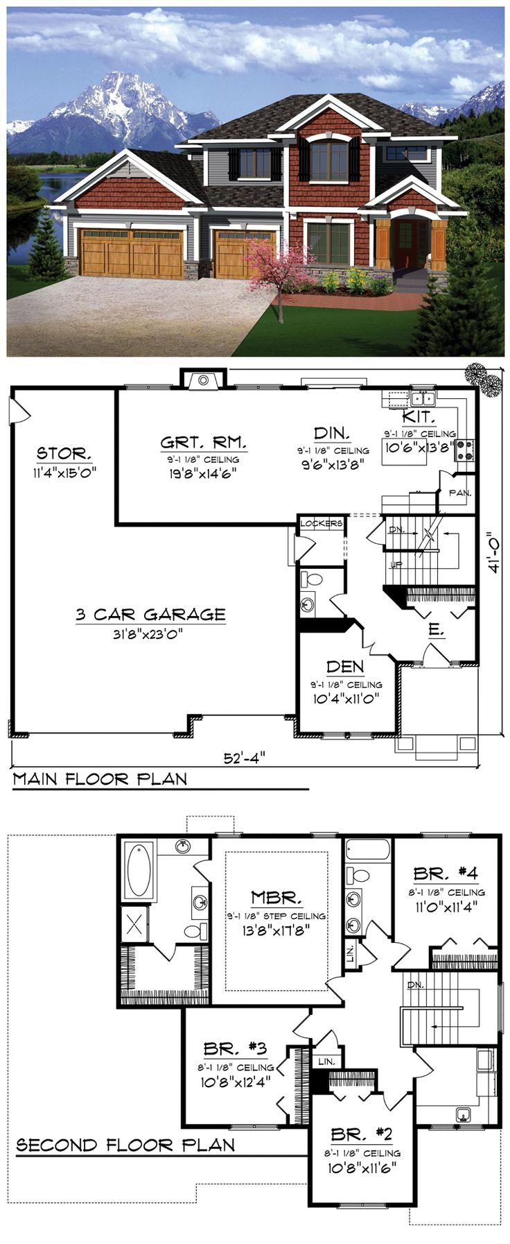 #Prairie #HousePlan 73144 | As you enter the home, the office lies just to the right while the main living area beckons you into the home from directly ahead. The kitchen features an island that flows into the casual dining space and great room to the left. Upstairs, the master suite features a step ceiling, spacious walk-in closet and private bath while three additional bedrooms have direct access to the full bath and laundry area just off the hallway.