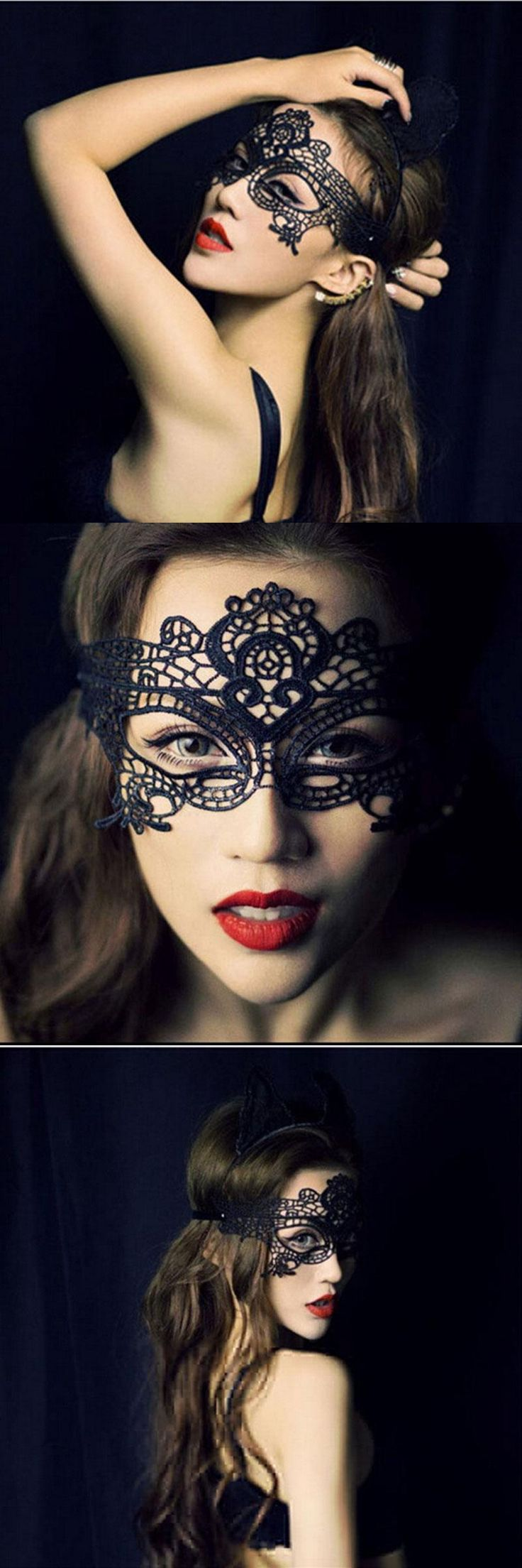 [Visit to Buy] New Girls Women Black Sexy Lady Lace Mask Cutout Eye Mask for Masquerade Party Fancy Dress Costum #Advertisement