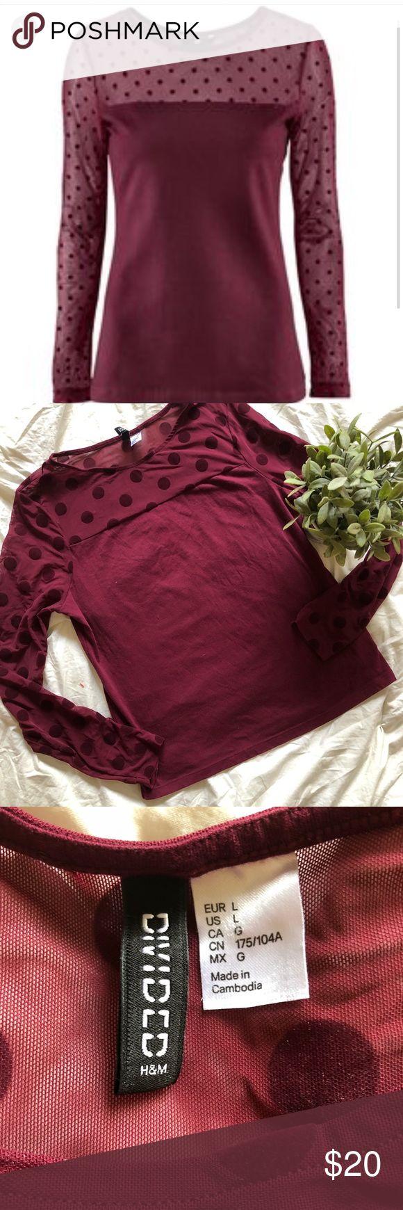 H&M DIVIDED mesh polka dot long big sleeve top L Like new Divided Tops Tees - Long Sleeve