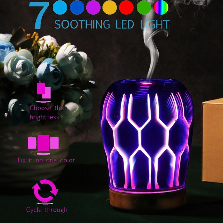 3D Led Glass Ultrasonic Aroma Mist Diffuser Essential Humidifier Aromatherapy