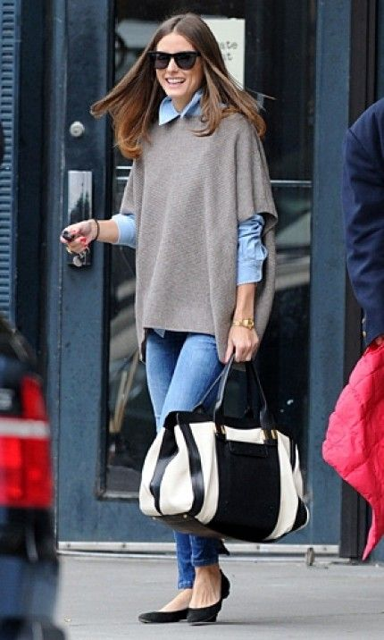 Olivia Palermo makes layering look effortless with this simple look.  pair your favorite skinny jeans with a chambray top and a short-sleeve poncho. Keep it casual with a pair of flats.