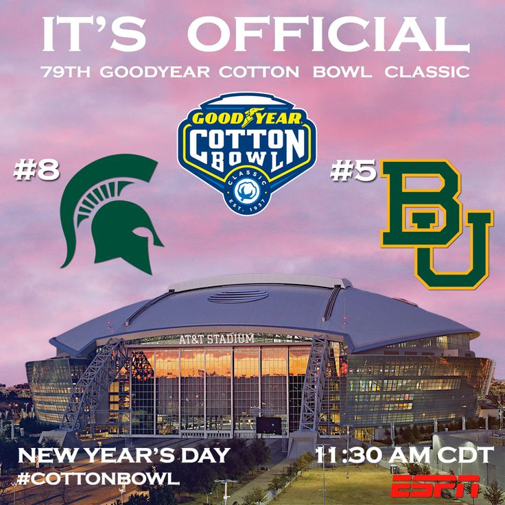 Things To Do In Dallas January 1, 2015. No. 8 MICHIGAN STATE vs. No. 5 BAYLOR IN THE 79th GOODYEAR COTTON BOWL CLASSIC!