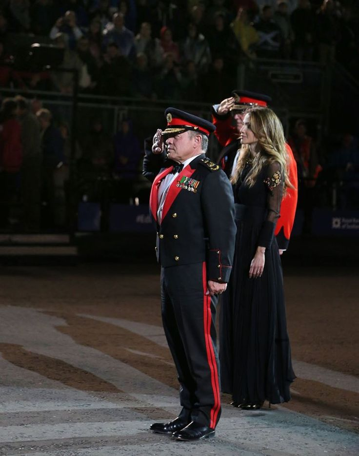 6 August 2016 - King Abdullah II and Queen Rania attend the 2016 Royal Edinburgh Military Tattoo, as a guest of honor.