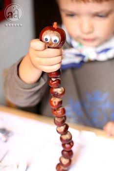 website full of kids crafts --- Artsy Ants chestnut worm craft