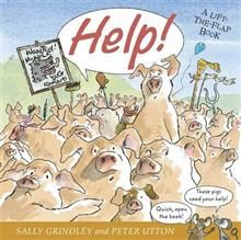 Help! by Sally Grindley and Peter Utton. Lift the flap book. Comical adaptation of the three little pigs, where the pigs team wins vs. the wolf! Comic strips and speech bubbles from mice narrators :)