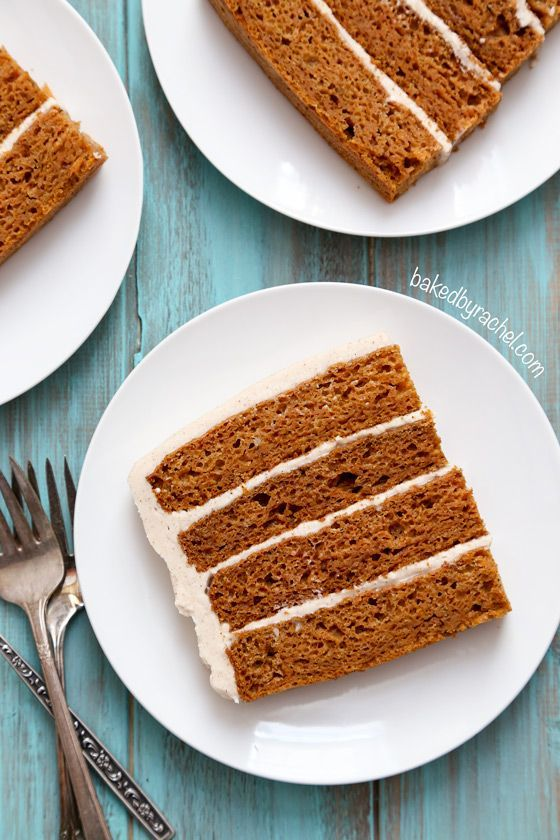 Moist carrot layer cake with cinnamon cream cheese frosting. Made with applesauce! Recipe from /bakedbyrachel/