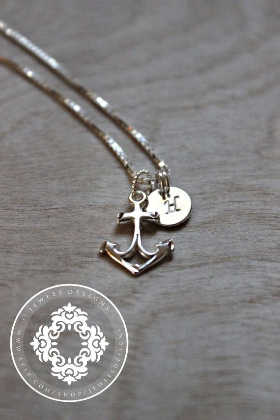 Nautical Necklace Keepsake, Initial Necklace, Initial Disc Necklaces, Personalized, Monogram, Wedding gifts, Beach wedding, Bridesmaid gifts
