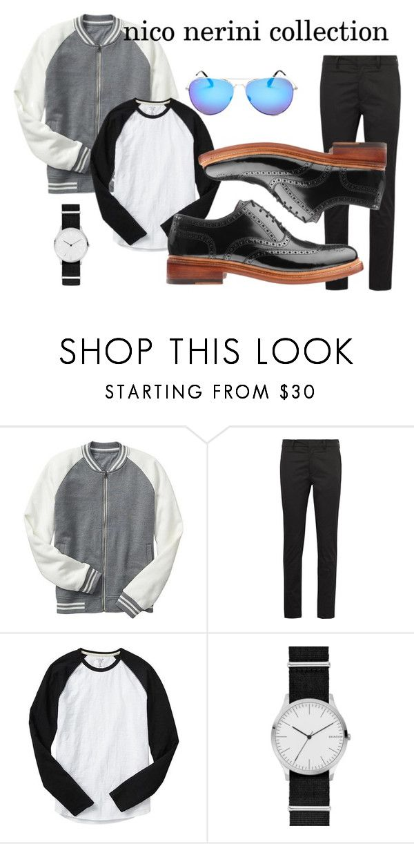 black and white casual outfit by nico-nerini on Polyvore featuring Gap, Prada, Skagen, Maui Jim, men's fashion and menswear