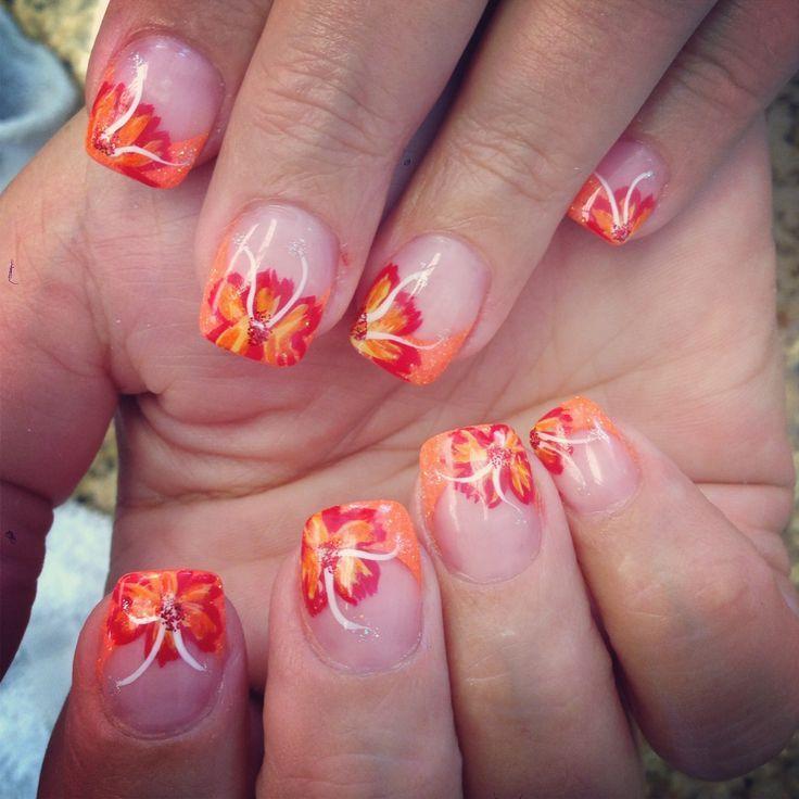 ... hawaiian flower hawaiian nails beauty nails awsome nails nail design