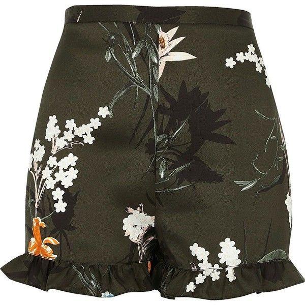 River Island Khaki floral print frill hem shorts ($50) ❤ liked on Polyvore featuring shorts, khaki, smart shorts, women, woven shorts, highwaist shorts, high-rise shorts, ruffle hem shorts and floral shorts