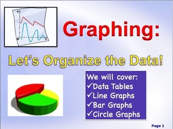 Tabling, Graphing and Analyzing Data (Science Skills).  This product is an in-depth lesson on creating data tables, learning to interpret graphs, and learning to construct graphs of all types. Your download will include a 31-slide PowerPoint presentation that is colorful, informative and visually stimulating, 6 pages of notes for the teacher, and a 6 page notes outline for the students.  $: Teacher Secondary