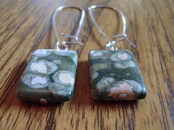 Rectangle Green Stone Earrings