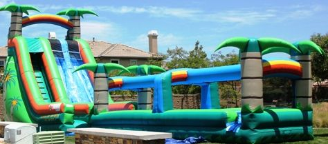tropical inflatable water slides