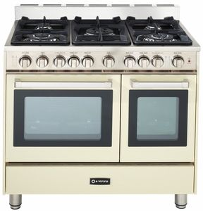 "VEFSGG365NDAW Verona 36"" All Gas Double Oven Range - Antique White (Bisque)"
