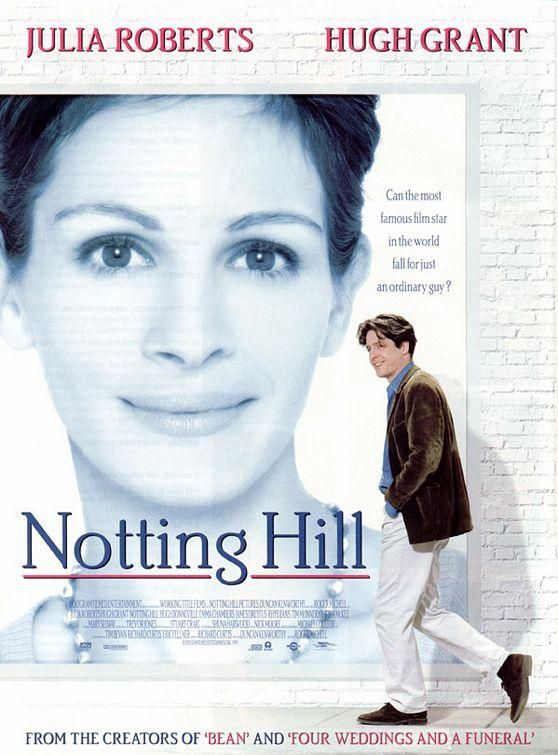 """""""Notting Hill"""" (1994) Julia Roberts and Hugh Grant. Not sure why this movie did not get higher ratings from some folks. While not the typical Roberts romantic comedy, I thought it showed very good acting on her part. The supporting cast of Grant's family and his roommate I felt were very good. It had a very nice ending, and I thought it was a good movie."""