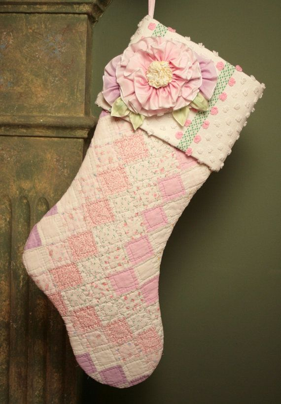 Sweet Pink Roses Postage Stamp Antique Quilt Christmas Stocking with Vintage Chenille Cuff and Millinery Flowers