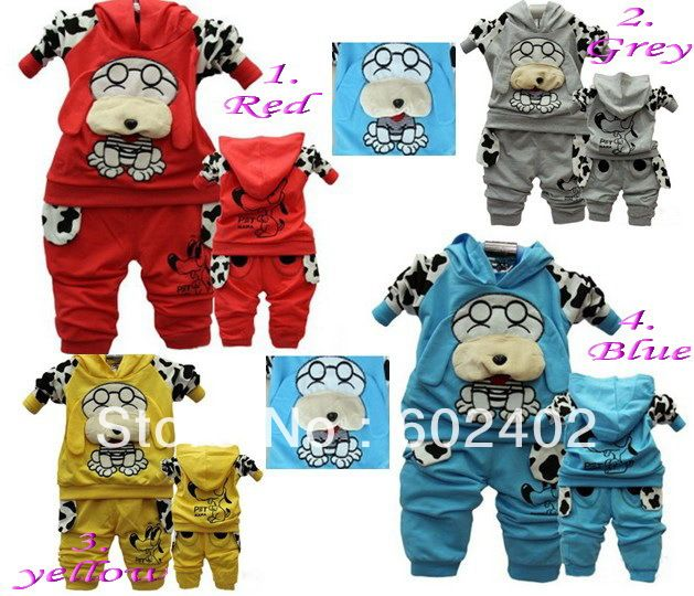 Spotted dog baby children's clothing boy girls sport suits 4 color Black blue red yellow Free Shipping $11.50 - 12.30