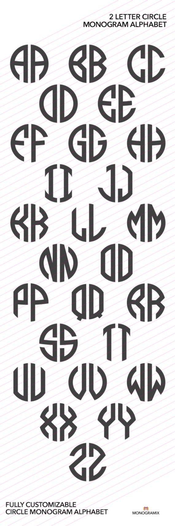 2 Letter SVG Monogram Font SVG Personal Monogram Font Letters SVG Personal Initials Monogram Svg Cut Dateien für Silhouette Studio, Cricut
