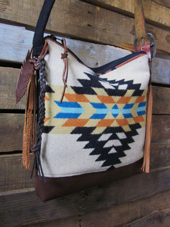 Black/ Teal/ Tan Aztec print Pendleton Wool and Leather purse by MercyGrey