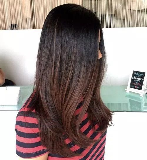 dark ombre with caramel shades ombre for black hair can mimic the look of sun kissed locks this hair color solution is perfect if you want to lighten up - Color Out Sur Cheveux Noir