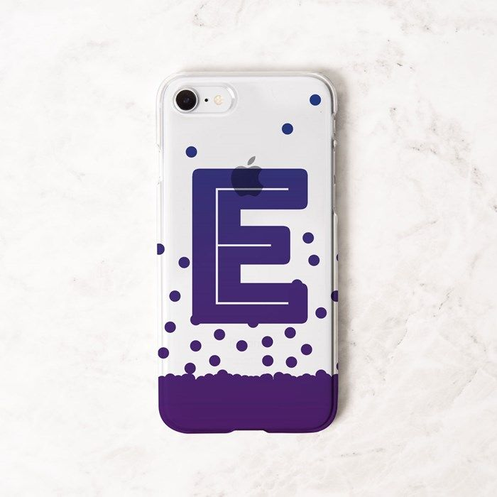 Personalised iPhone Clear Cover - Initial Dot Cascade | GettingPersonal.co.uk