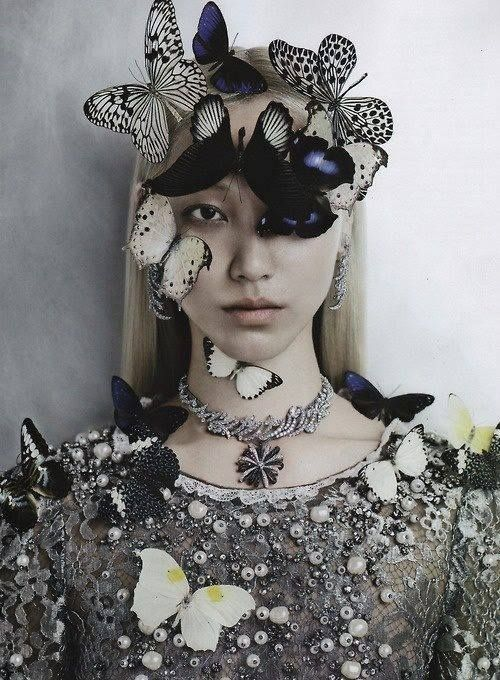 Soo Joo Park by Kevin Mackintosh for Vogue Italia, October 2012 -butterfly hat