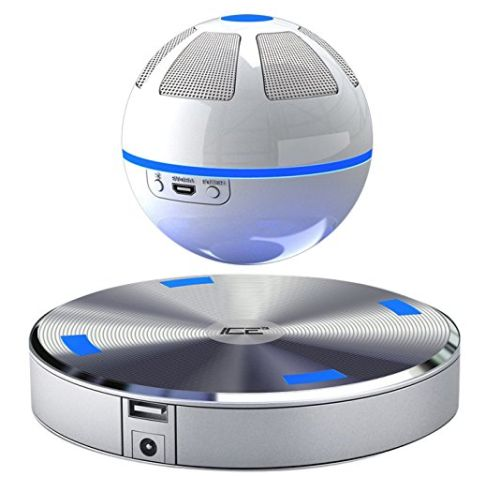 "Floating Bluetooth Speaker Floating Speaker Orb spinning above a magnetic base                                                                      Special sound guide cone designed to increase 3D surround effect                                                                      Bluetooth speaker floating in the air with 10mm ground clearance  Levitation technology user under license from Levitation Arts, Inc.""Buy Now!"